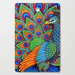 Colorful Paisley Peacock Rainbow Bird Cutting Board