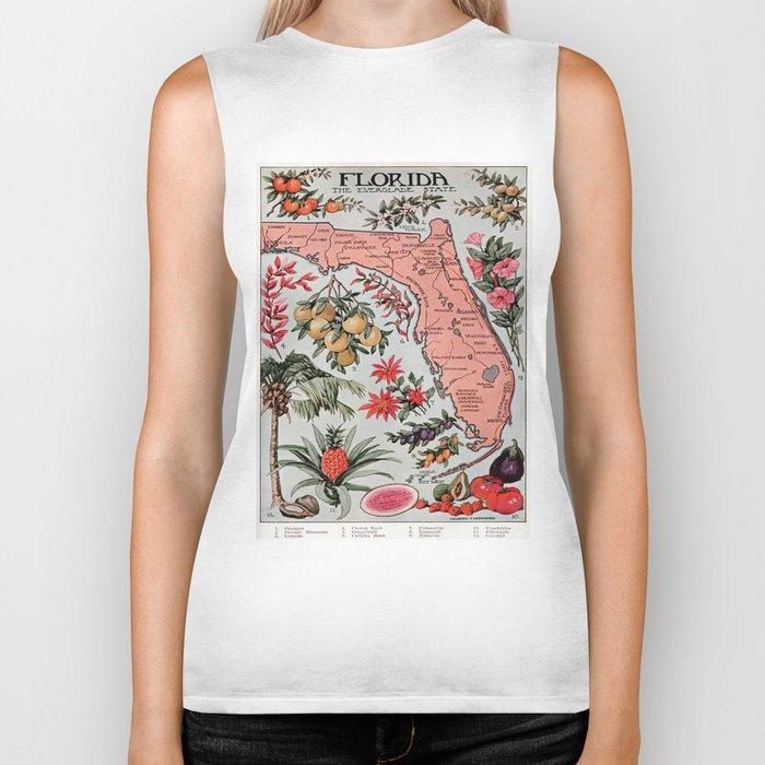 Vintage Map of Florida (1917) Biker Tank