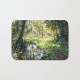 Landscape of a forest and river Bath Mat