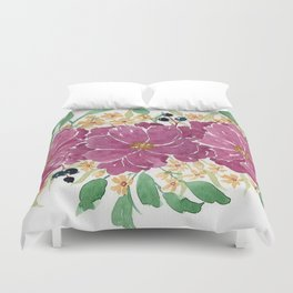 """Japanese Maple & Blueberry"" loose floral bouquet watercolor illustration Duvet Cover"