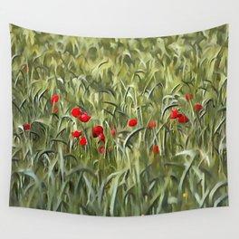 Cornfield Poppy Landscape Wall Tapestry
