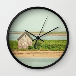 Little Beach House with Seagull Atop Wall Clock