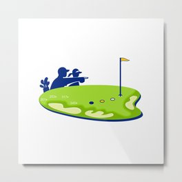Golfer Caddie Golf Course Retro Metal Print