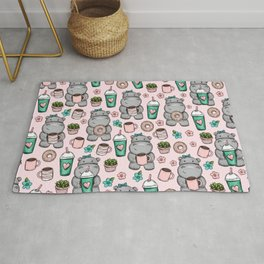 Cute Little Hippo, Hippopotamus, Donuts and Coffee, Pink Print For Girls, Little Girls, Tween Girls Rug