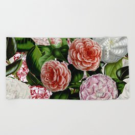 Vintage & Shabby Chic Green Large Dark Floral Camellia  Flowers Watercolor Pattern Beach Towel