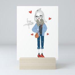 Free spirit girl Mini Art Print