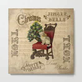 Vintage Christmas Cat Metal Print