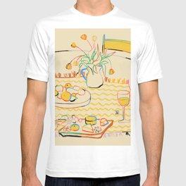 YELLOW TULIPS, WINE AND CHEESE T-shirt