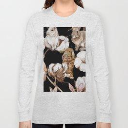 Cotton Flower & Rabbit Pattern on Black 01 Long Sleeve T-shirt