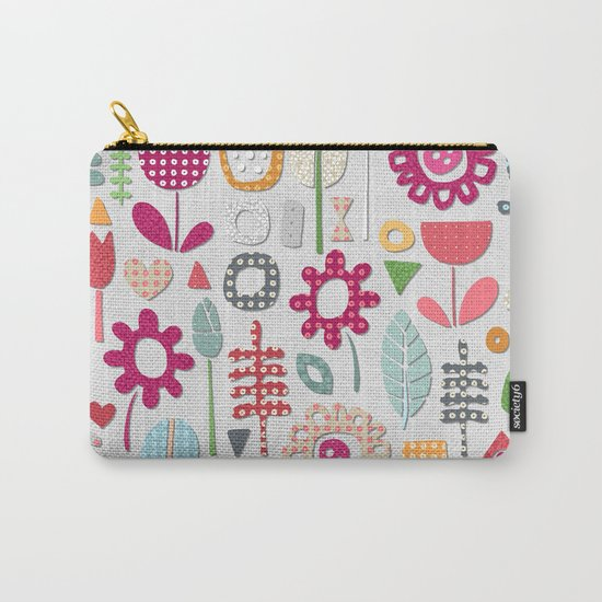 paper cut flowers silver Carry-All Pouch
