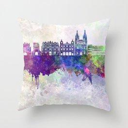 Burgos skyline in watercolor background Throw Pillow