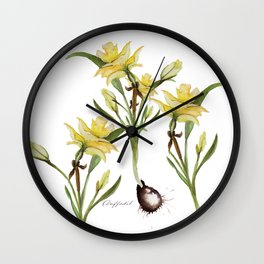 Daffodil- watercolor  Wall Clock