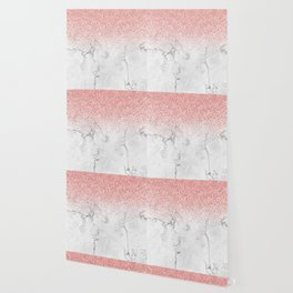 Rose Gold Glitter and white marmble Wallpaper