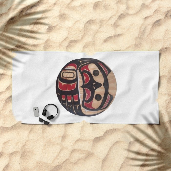 Northwest Pasific American Native Totem In Cut In Wood No. 5 Beach Towel