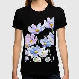 purple cosmos flowers in bloom T-shirt