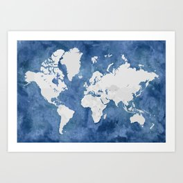 Navy blue watercolor and light grey world map with countries (outlined) Art Print