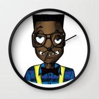 nerd Wall Clocks featuring Nerd by DeMoose_Art
