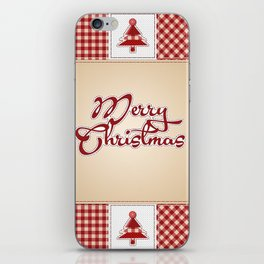 Merry Christmas Quilt Pattern iPhone Skin