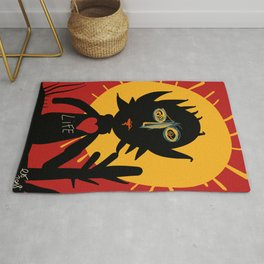 Life is a little man under the sun in a red sky African Art Rug
