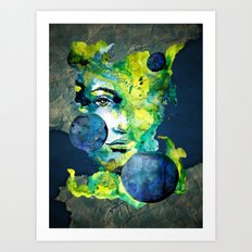Evelin Green (Set) by carographic watercolor portrait Art Print
