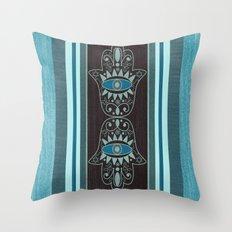 Aqua Double Denim Hamsas Throw Pillow