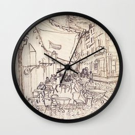 Cafe Terrace at Night (sketch) Wall Clock