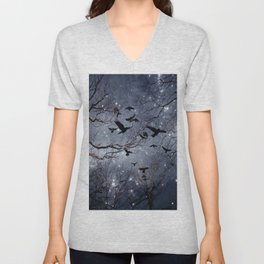 Woodland Crows And Bursting Stars Unisex V-Neck