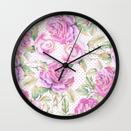 Watercolor hand painted pink lavender roses polka dots Wall Clock