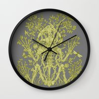 skeleton Wall Clocks featuring Skeleton by Thom Deer