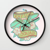 trex Wall Clocks featuring Raptor Squad by Charleighkat