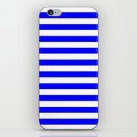 stripes iPhone & iPod Skins featuring Horizontal Stripes (Blue/White) by 10813 Apparel