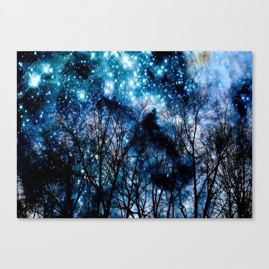 Black Trees Teal Space Canvas Print