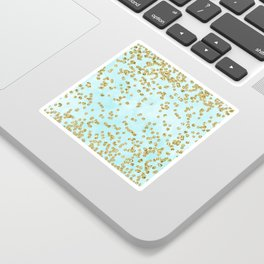 Sparkling gold glitter confetti on aqua ocean blue watercolor background - Luxury pattern Sticker