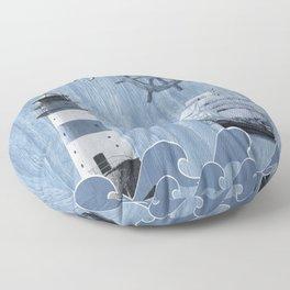 Ahoy - Maritime blue Floor Pillow