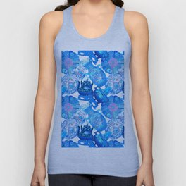 China Cabinet Toss in Blue Pottery + Porcelain White Unisex Tank Top