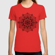 Thrive - Monochrome Mandala LARGE Womens Fitted Tee Red