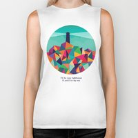 sayings Biker Tanks featuring I'll be your lighthouse if you'll be my sea by Picomodi