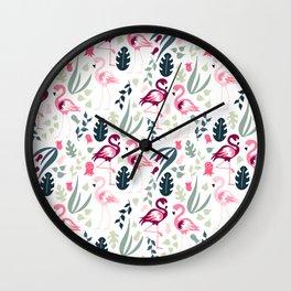Flamingo Pattern 3 Wall Clock