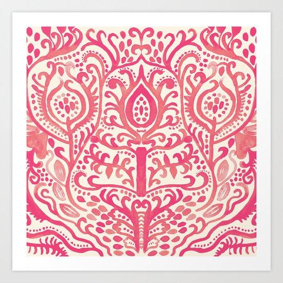Strawberry and Cream Watercolor Tulip Damask Art Print