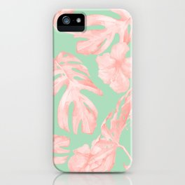 Tropical Palm Leaves Hibiscus Pink Mint Green iPhone Case