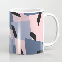 Patches Abstract Pattern Black, Blue, Pink, Gray Coffee Mug
