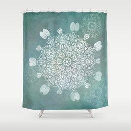 Turquoise Batik Mandala Float Shower Curtain