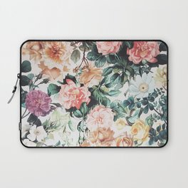 Vintage green pink yellow watercolor roses floral Laptop Sleeve