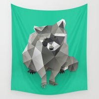 racoon Wall Tapestries featuring Low Poly Racoon by The animals moved to - society6.com/dian