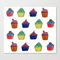 cupcakes Canvas Prints featuring cupcakes by MeriRS