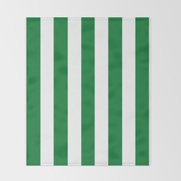 La Salle green - solid color - white vertical lines pattern Throw Blanket