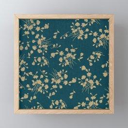 Gold Green Blue Flower Sihlouette Framed Mini Art Print