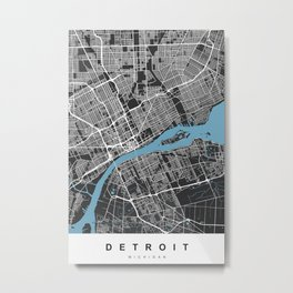 Detroit Map Michigan | Black & Blue | More Colors, Review My Collections Metal Print