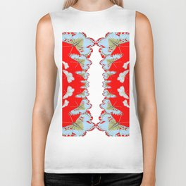 DESIGN PATTERN OF RED & WHITE BUTTERFLIES Biker Tank