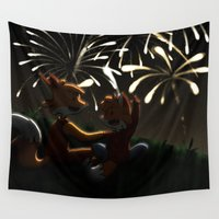 fireworks Wall Tapestries featuring Fireworks! by Pencil Box Illustration